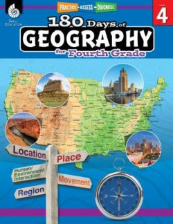 Shell Education 180 Days Of Geography Workbook, Grade 4