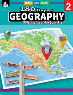 Shell Education 180 Days Of Geography Workbook, Grade 2